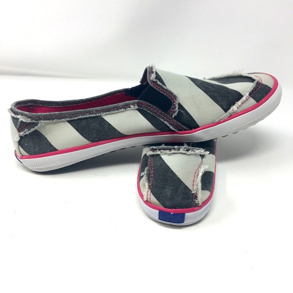 Keds Slip On Black, White & Pink Sneakers